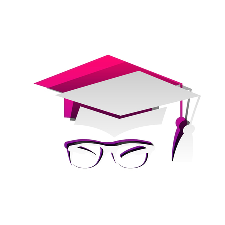 Mortar Board or Graduation Cap with glass. Vector. Detachable paper with shadow at underlying layer with magenta-violet background.