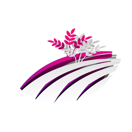 Wheat field sign. Vector. Detachable paper with shadow at underlying layer with magenta-violet background. Ilustração