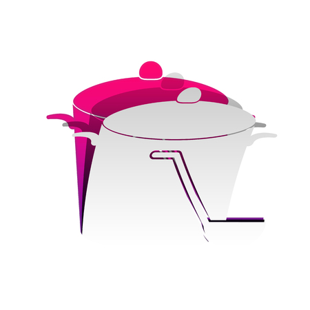 Pan with steam sign. Vector. Detachable paper with shadow at underlying layer with magenta-violet background.