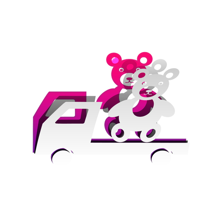 Truck with bear. Vector. Detachable paper with shadow at underlying layer with magenta-violet background.