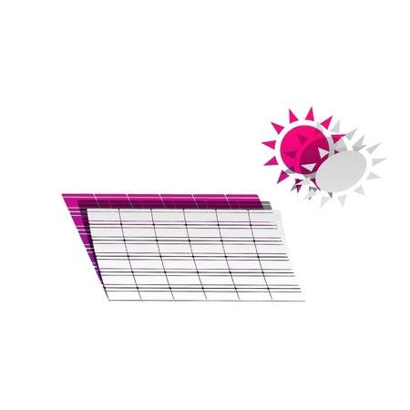 Solar energy panel. Eco trend concept sign. Vector. Detachable paper with shadow at underlying layer with magenta-violet background.