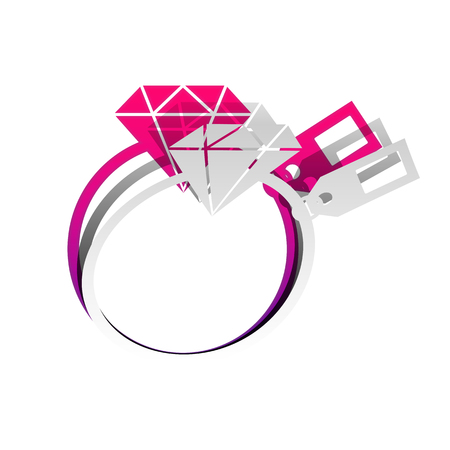 Diamond sign with tag. Vector. Detachable paper with shadow at underlying layer with magenta-violet background. Ilustrace