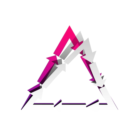 Plastic recycling symbol PVC 3 , Plastic recycling code PVC 3. Vector. Detachable paper with shadow at underlying layer with magenta-violet background.