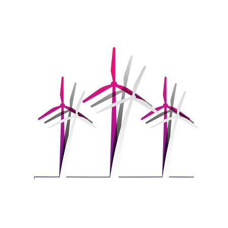 Wind turbines sign. Vector. Detachable paper with shadow at underlying layer with magenta-violet background.