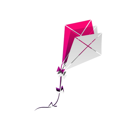 Kite sign. Vector. Detachable paper with shadow at underlying layer with magenta-violet background. Illustration