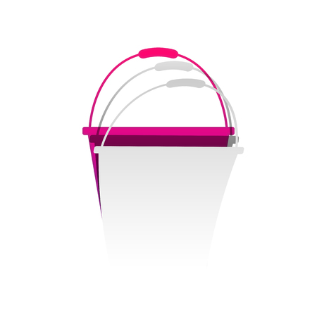 Bucket sign for garden. Vector. Detachable paper with shadow at underlying layer with magenta-violet background.