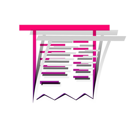 Paying bills concept. Payment of utility, bank, restaurant and other bills sign illustration. Vector. Detachable paper with shadow at underlying layer with magenta-violet background.
