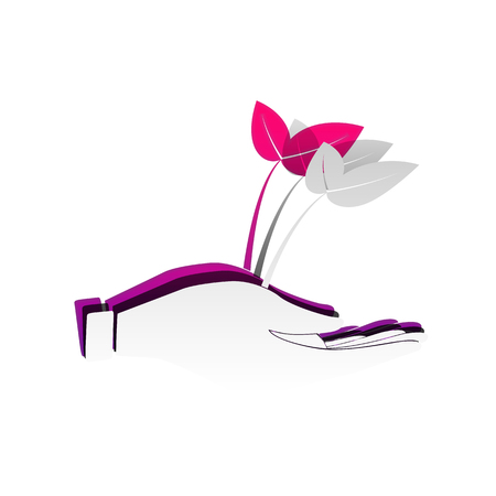 Sprout in a hand sign of environmental protection. Vector. Detachable paper with shadow at underlying layer with magenta-violet background. Vettoriali