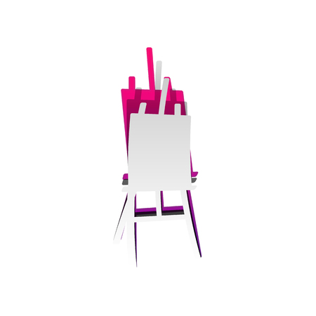 Easel sign. Vector. Detachable paper with shadow at underlying layer with magenta-violet background. Иллюстрация
