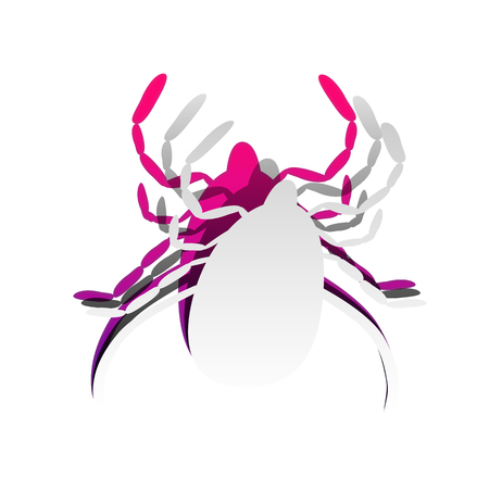 Dust mite sign illustration. Vector. Detachable paper with shadow at underlying layer with magenta-violet background.