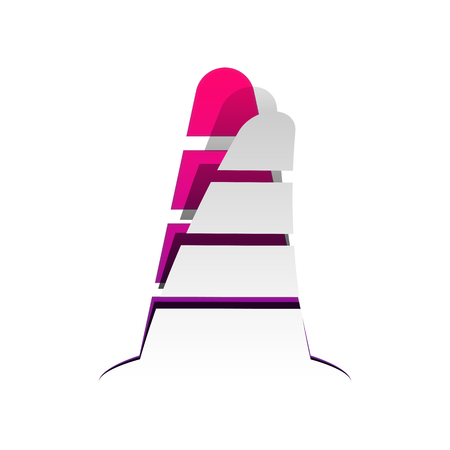 Road traffic cone icon. Vector. Detachable paper with shadow at underlying layer with magenta-violet background.
