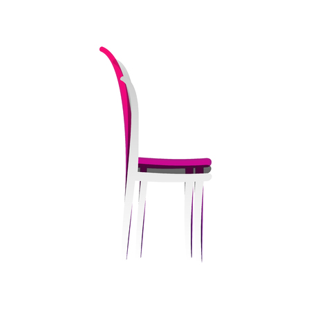 Chair sign illustration. Vector. Detachable paper with shadow at underlying layer with magenta-violet background.