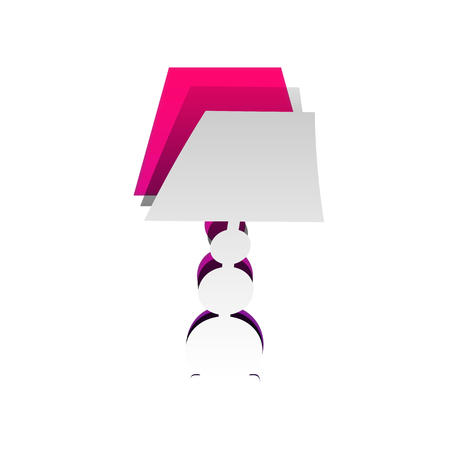 Lamp sign illustration. Vector. Detachable paper with shadow at underlying layer with magenta-violet background.