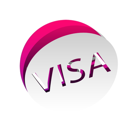 Visa card sign illustration. Vector. Detachable paper with shadow at underlying layer with magenta-violet background.