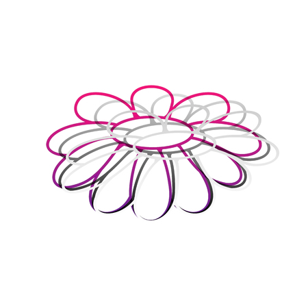 Flower Chamomile sign illustration. Vector. Detachable paper with shadow at underlying layer with magenta-violet background. Illustration