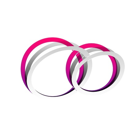 Wedding rings sign. Vector. Detachable paper with shadow at underlying layer with magenta-violet background.