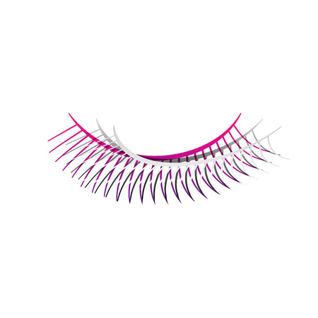 Eyelashes sign. Vector. Detachable paper with shadow at underlying layer with magenta-violet background.