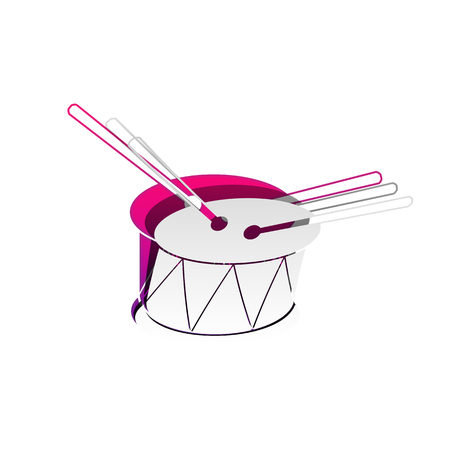 Drum sign. Vector. Detachable paper with shadow at underlying layer with magenta-violet background.