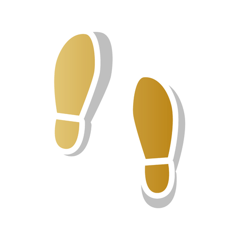Imprint soles shoes sign vector. Golden gradient icon with white contour. Illustration