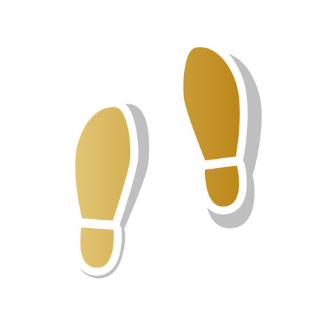 Imprint soles shoes sign vector. Golden gradient icon with white contour.  イラスト・ベクター素材