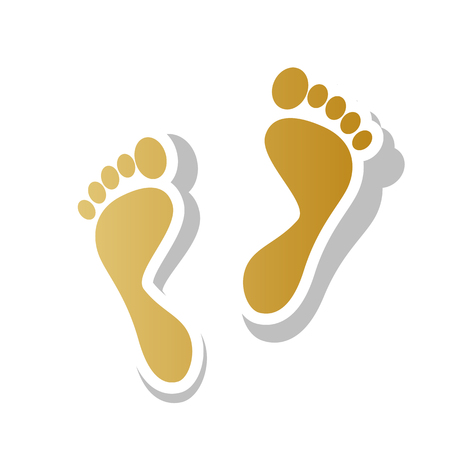 Foot prints sign vector. Golden gradient icon with white contour. Illustration