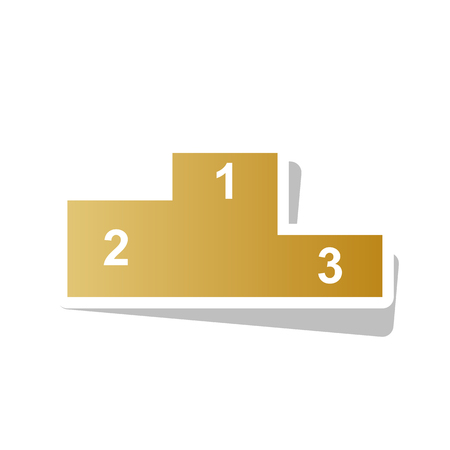 Sport winners podium. Flat style icon vector. Golden gradient icon with white contour.