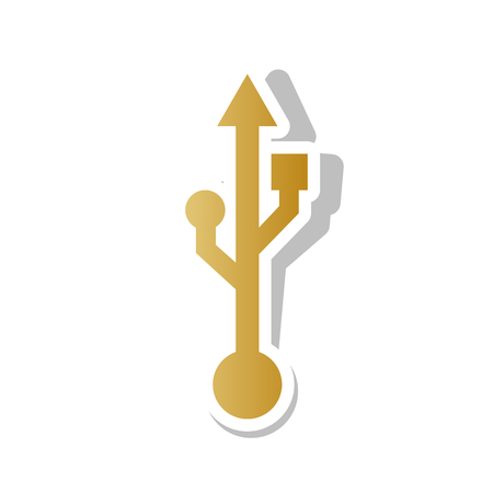 USB sign illustration vector. Golden gradient icon with white contour.
