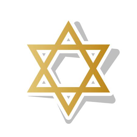 Shield magen, David star, symbol of Israel vector. Golden gradient icon with white contour.
