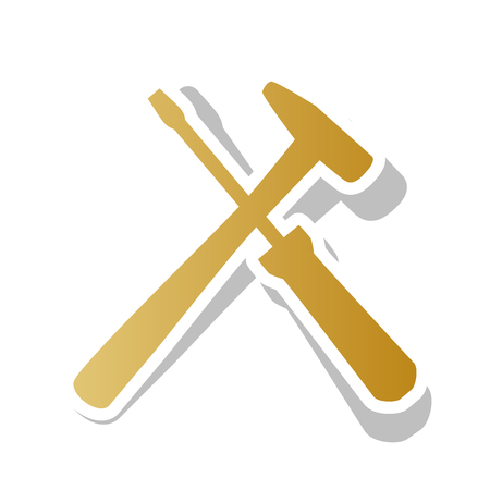 Tools sign illustration vector. Golden gradient icon with white contour.