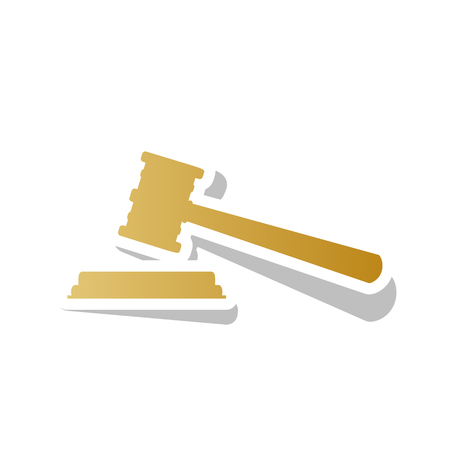 Justice hammer sign vector. Golden gradient icon with white contour.