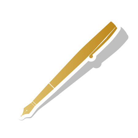 Pen sign illustration vector. Golden gradient icon with white contour.