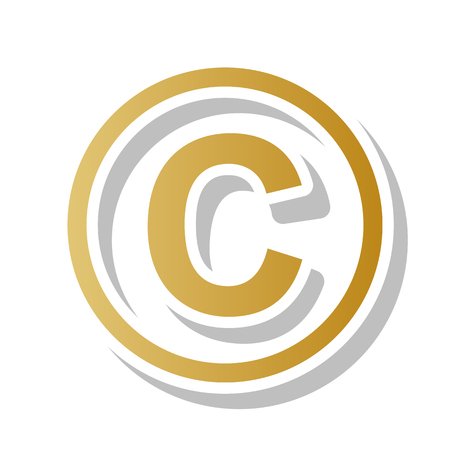 Copyright sign illustration vector. Golden gradient icon with white contour.