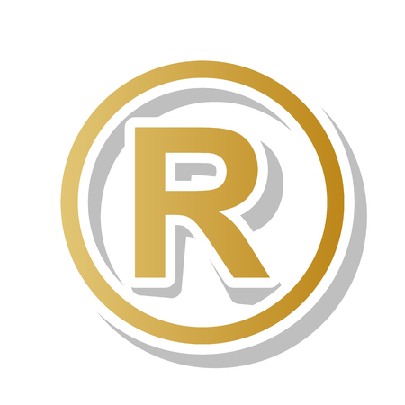 Registered trademark sign vector. Golden gradient icon with white contour.