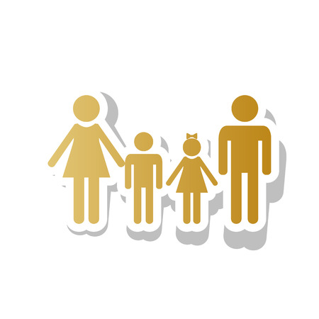 Family sign vector. Golden gradient icon with white contour. Illustration