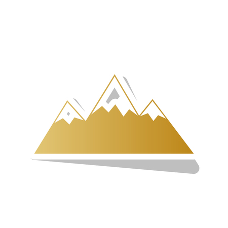 Mountain sign illustration vector. Golden gradient icon with white contour. 일러스트