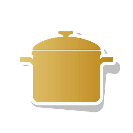 Cooking pan sign vector. Golden gradient icon with white contour. Иллюстрация