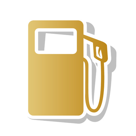 Gas pump sign vector. Golden gradient icon with white contour.