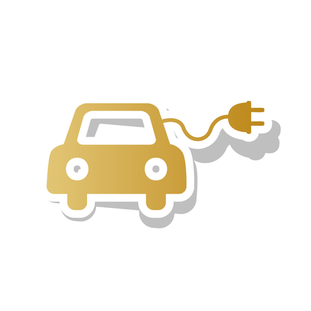 Eco electric car sign vector. Golden gradient icon with white contour. Illustration