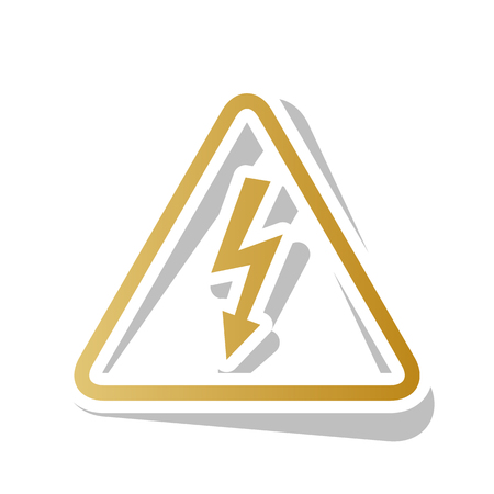 High voltage danger sign. Golden gradient icon with white contour.