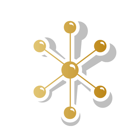 Molecule sign illustration. Vector. Golden gradient icon with wh