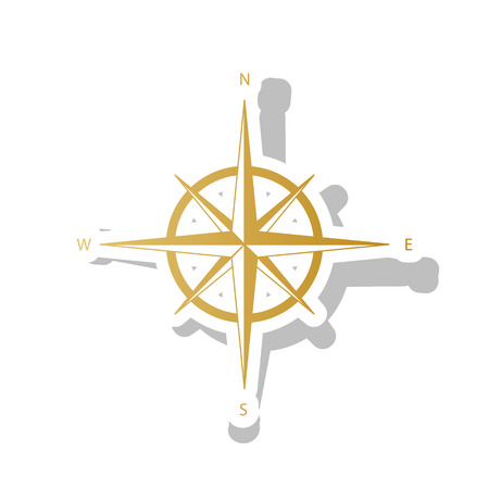 Wind rose sign. Vector. Golden gradient icon with white contour 向量圖像