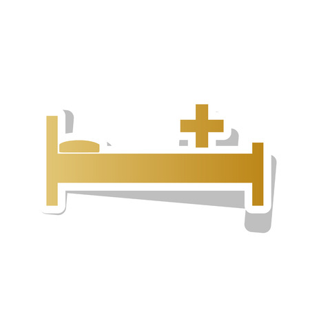 Hospital sign illustration Vector.Golden gradient icon with white lining