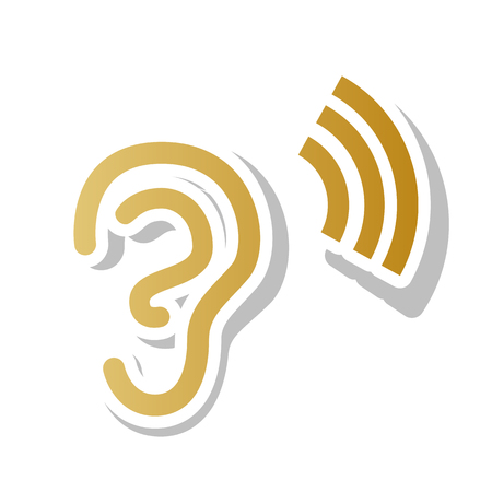 Human anatomy Ear sign with sound wave Vector. Golden gradient icon with white contour and rotated gray shadow at white background. Illustration