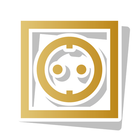Electrical socket sign Vector. Golden gradient icon with white contour and rotated gray shadow at white background.