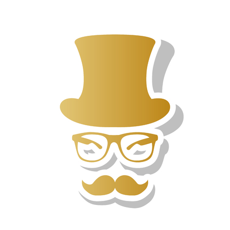 Top hat with glasses and mustache vector illustration