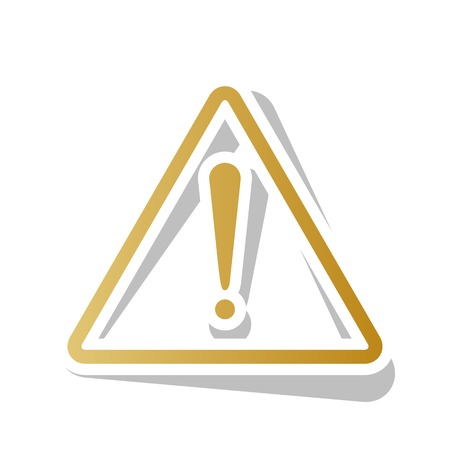 Exclamation danger sign. Flat style. Golden gradient icon illustration. Vettoriali