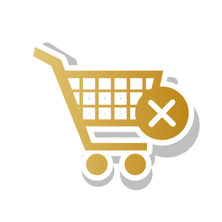 Shopping Cart with delete sign. Golden gradient icon illustration.