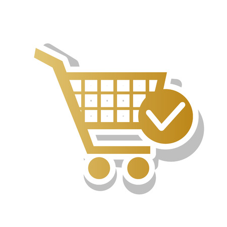 Shopping Cart with Check Mark sign. Golden gradient icon illustration.