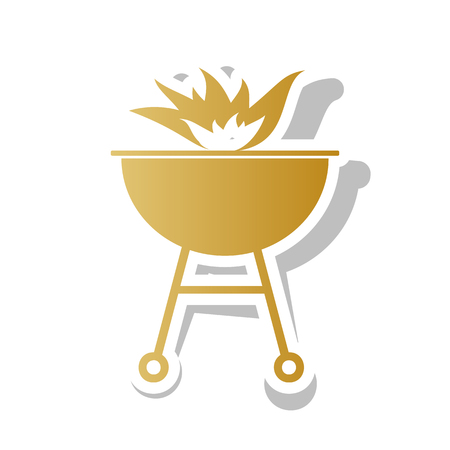 Barbecue with fire sign. Golden gradient icon with white contour. Illustration