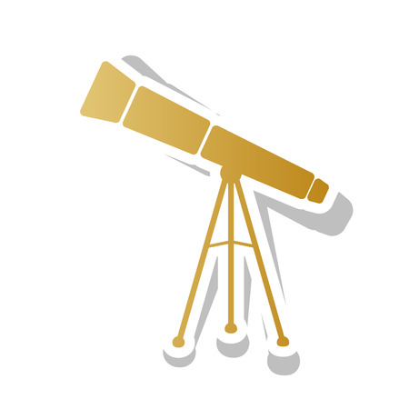 Telescope simple sign. Vector. Golden gradient icon with white c